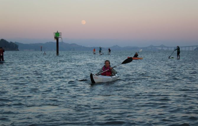 More kayaks enjoying the night on SF Bay.