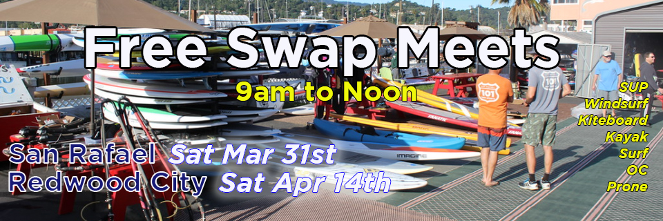 Free Water Sports Swap meets in San Rafael and Redwood City
