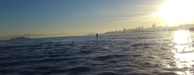 Paddleboarding on San Francisco Bay with the City Skyline in the background