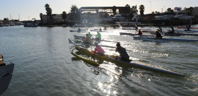 Paddle racing in Surfski, outrigger canoe, and paddleboards in San Rafael