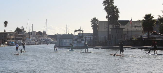 Stand Up paddleboard racing on san francisco bay