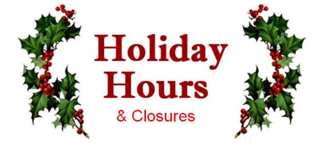 101 Surf Sports 2016-17 Holiday Closures