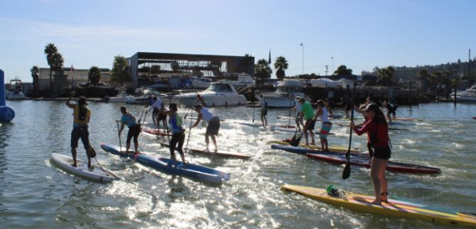 Off the starting line for the Stand Up Paddleboard Fleet