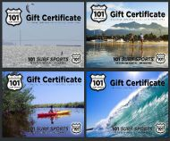 Instant Online Gift Certificate Good for Stand Up Paddleboarding, Kayaking, Surfing, and Windsurfing.